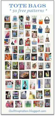 Here are 50 free sewing patterns for tote bags, shopping bags, backpacks, duffle bags and beach bags. These are perfect for anything you n...