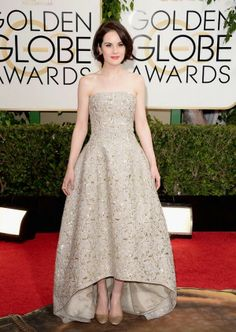 Michelle Dockery in Oscar de la Renta this evening at the 2014 Golden Globes. Her oyster stargazer fil coupé gold sequin embroidered gown is from our spring 2014 collection.