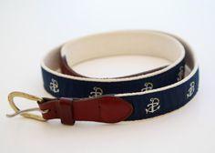 Vintage 80s preppy sailing anchor belt leather navy blue on Etsy, $18.00