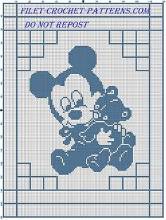 Baby Mickey with teddy bear baby blanket filet crochet - free filet crochet patterns download