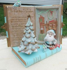 "Vtg. Night Before Christmas Ceramic Music Box, ""We Wish you a Merry Christmas"" #MusicBox #Christmas #Santa"