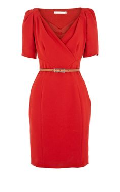 Cheap Replica Designer Clothes Karen Millen Red Crepe Dress