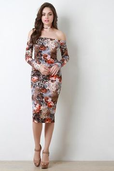 Bishop Sleeves Floral Bardot Choker Dress JP Murga's - Women's Clothing
