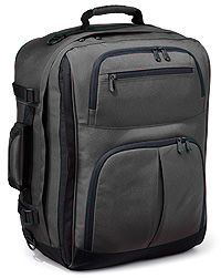 Convertible Carry-On - Rick Steves' Travel Store    Our Convertible Carry-On bag features a huge side-access front compartment; 3 front pockets (2 with generous U-openings); toggle-tight mesh water bottle pocket; 2500 cubic-inch interior; internal and external compression straps to keep your load compact and stable; padded grab handles and breathable mesh lumbar panel for comfort over the long haul. The sleek, reverse-style zippers (better for keeping moisture out) feature heavy-duty pulls.