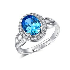 Vintage Adjustable Rings For Women Wedding Blue Cubic Zirconia Jewelry Aneis White Gold 585 Color Anillos Mujer QQ172
