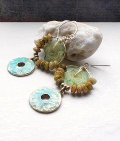 Sun Dancer Earrings Lemon and Lime lampwork by 13Alternatives