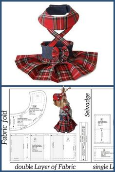 Sewing projects for pets Girl dog clothes pattern & tutorial #smalldogfashion #diydogclothesgirl #sewingpattern #pdfsewpattern #pdfdogclothes #tartanskirt #dogfashion #petclothes #petdress #forsmalldog #tutorial #skirt #tartan #redskirt