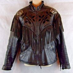 VTG U.S. MADE CO. Middleton, MA Leather Motorcycle Coat Fringed Rose Inlay SZ 14…