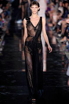 Black sheer gown by John Galliano