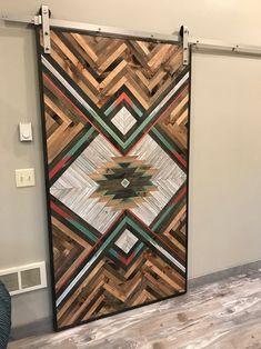 Rustic Aztec Barn Door – Fashion World Art Rustique, Motifs Aztèques, Barn Door Designs, Wood Patterns, Interior Barn Doors, Picture On Wood, Rustic Barn, Wood Wall Art, Wood Projects