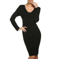 Beemart Women Long Sleeve V Neck Open Back Bandage Bodycon Dress Black Small *** To view further for this item, visit the image link.
