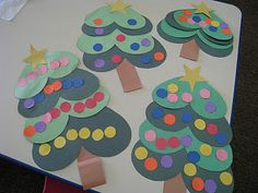 Heart Christmas trees- could use hole punch for ornaments/promote fine motor skills