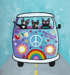 Rainbow Hippies VW Peace Bus Original Cat Folk by KilkennycatArt Crazy Cat Lady, Crazy Cats, Art And Illustration, Illustrations, Maurice Careme, Cat Drawing, Art Plastique, Cool Cats, Cat Art
