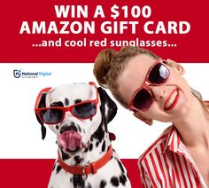 """Enter the """"Learn New Tricks"""" contest from National Digital Academy today for a chance to win awesome prizes (including cool red glasses). BONUS: Instant-win a free social media online class. Enter now at    #contests #contestscanada #sweepstakes #contest Gift Cards Canada, Contests Canada, Amazon Baby, Red Sunglasses, Cool Writing, Free Gift Cards, Amazon Gifts, Shopping Spree, New Tricks"""