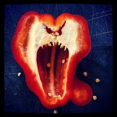 Why you should always eat peppers after cutting them...  Things With Faces | Know Your Meme