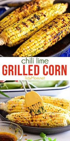 Warm weather and GRILLED CHILI LIME CORN ON THE COB go hand in hand. Tart lime, spicy chili powder, and cilantro butter on sweet charred corn offer a vibrant flavor perfect for any BBQ. PRINTABLE RECIPE at TidyMom.net Corn Recipes, Side Dish Recipes, Vegetable Recipes, Fruit Recipes, Grilling Recipes, Cooking Recipes, Healthy Recipes, Vegetarian Grilling, Healthy Grilling