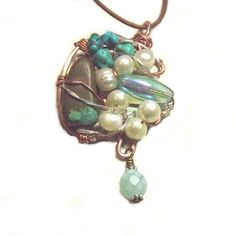 OOAK Wire Wrapped Turquoise and Pearls in by JewelrybyMignon, $48.00