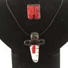 Rood wit en zwart glas mooie combi