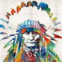 Native American Art - Chief - By Sharon Cummings by Sharon Cummings