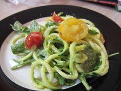 Man Eating Plants: Zucchini Pasta + Creamy Avocado-Cucumber Sauce
