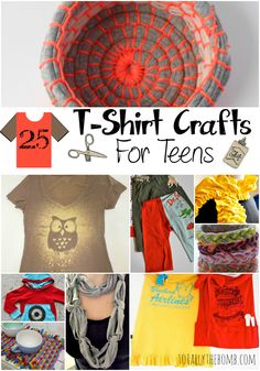 25 T-Shirt Crafts for Teens We all have dozens of old t-shirts we don't wear anymore. Or if we don't, they are super easy to pick-up from any local thrift store. That's what makes these 25 t-shirt crafts for teens Upcycled Crafts, Repurposed, Crafts For Teens To Make, Crafts To Do, Arts And Crafts, Easy Crafts, Creative Crafts, Kids Crafts, Kids Diy