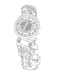Easy Half Sleeve Tattoos, Half Sleeve Tattoo Stencils, Half Sleeve Tattoos Drawings, Half Sleeve Tattoos Designs, Best Sleeve Tattoos, Tattoo Sketches, Tiger Tattoo Design, Clock Tattoo Design, Compass And Map Tattoo