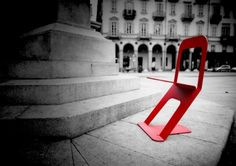 the Zero Chair, a minimalist chair made out of one sheet of aluminium with just three cuts and two folds.
