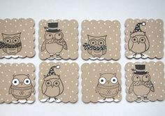 lot de 8 étiquettes cadeaux hiboux en papier kraft : Emballages cadeaux par ninscartes sur ALittleMarket