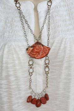 Red Jasper Necklace (332p): Handmade Jewelry, Jasper Horse Necklace, Carved Horse Necklace, Horse Pendant, Healing Necklace, MultiStrand