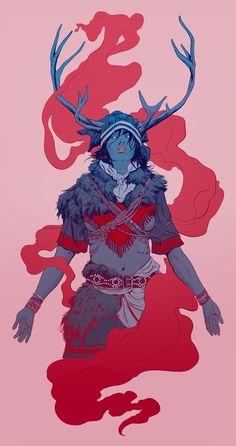 Sarakka - Sami Goddess of Birth, an art print by Robert Samm.- Sarakka – Sami Goddess of Birth, an art print by Robert Sammelin - Character Concept, Character Art, Concept Art, Character Design, Illustrations, Illustration Art, Bunt, Art Inspo, Character Inspiration