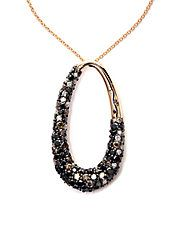 Black, Brown And White Diamond 14K Rose Gold Pendant Necklace, 2.47 TCW
