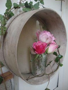 country style flowers in doorway