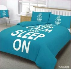 """TEAL """"KEEP CALM AND SLEEP ON"""" SUPER KING SIZE 3PC DUVET COVER SET - INCLUDING DUVET COVER AND PILLOWS: Amazon.co.uk: Kitchen & Home"""
