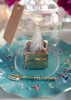 Turquoise Blue Holiday Table Setting detail