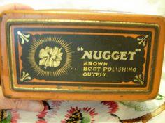 """NUGGET"" BOOT POLISH - Brown Boot Polishing Outfit Tin"