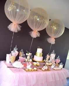 Baby Shower Decorations Balloons wrapped in tulle for party decor Deco Baby Shower, Shower Party, Baby Shower Games, Baby Shower Parties, Baby Shower For Girls, Baby Shower Table Set Up, Shower Cake, Babby Shower Ideas, Tulle Baby Shower