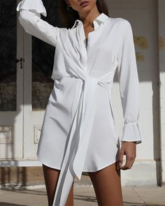 [£ Solid Long Sleeves Sheath Above Knee Casual/Elegant Dresses - VeryVoga Elegant Dresses, Casual Dresses, Fashion Dresses, Simple White Dress, Cowgirl Shirts, Blue Shirt Dress, Dress Shirts, Trend Fashion, How To Look Classy
