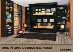 pqSim4: Urban Chic Double Bedroom. Sims 4 Custom Content.