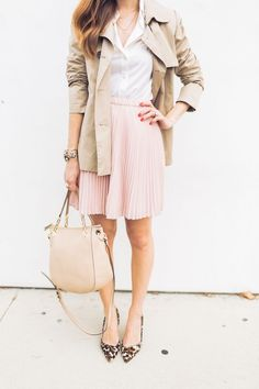 Simple Spring Sophistication- pink skirt, white top and trench