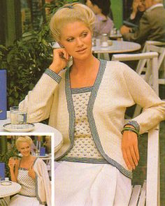 Hamlyn Knitting Pattern, Lady's Three Colour Twinset, Cardigan and Camisole Top