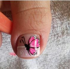 Modelo de uñas de pie Short Nail Manicure, Pedicure Nail Art, Pedicure Designs, Toe Nail Designs, Toe Nail Art, Simple Toe Nails, Cute Toe Nails, Summer Toe Nails, Magic Nails