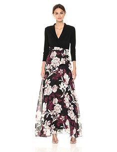 b2cdc0e8dc9 Chetta B Women s Long Sleeve Mixed Media Maxi Dress