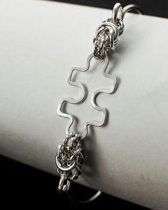 Puzzle Piece Twisted Elegance Bangle Bracelet by CreatingUnkamen - Jewelry supplies - jewelry making - jewelry supply - diy jewelry