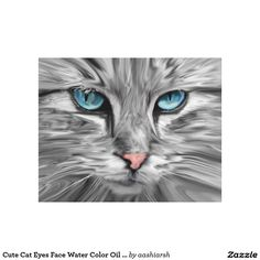 #Cute #Cat #Eyes Face Water Color Oil #Painting #Art #Canvas Print #homedecor #wall #animal #pet #cats