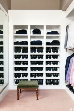 Shoes are neatly arranged in the master closet of designer Ben Soleimani's Beverly Hills, California, home.