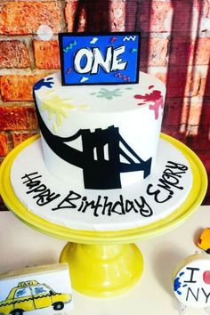 Check out this cool NYC-themed 1st birthday party! Love the cake! See more party ideas and share yours at CatchMyParty.com #catchmyparty #partyideas #graffiti #1stbirthdayparty #nyc