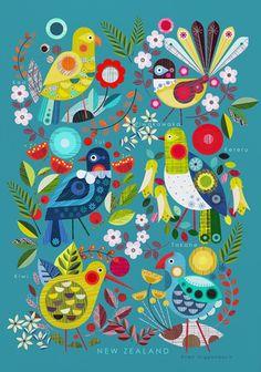 New Zealand Art Print by Ellen Sutherland - X-Small Art Floral, Bird Illustration, Illustrations, New Zealand Art, Nz Art, Kiwiana, Primitive Folk Art, Naive Art, Tumblr Wallpaper