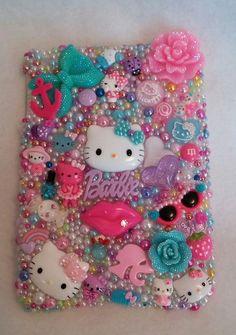Hello Kitty Cat Case BARBIE Cover Handmade Rhinestones Homemade fits iPad Mini