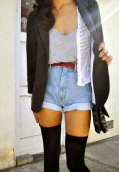 you can make high-waisted shorts work for fall as well with thigh-high socks and a warm cardigan