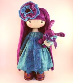 Doll Flossya  purple and turquoise cloth doll by DollsLittleAngels